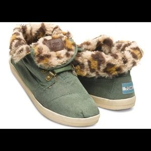 Toms Highland Botas Green and Leopard Print
